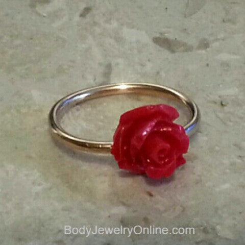 ROSE Captive Bead Red Rose Navel Belly Ring Hoop VARIETY 16 gauge 16g- 14k Yellow, Rose, or White Gold Filled, or Sterling Silver Valentines