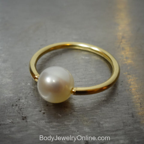6mm White Pearl Captive Bead Ring - 16 ga Hoop VARIETY - 14k Gold (Y, W, or R), Sterling Silver, or Platinum