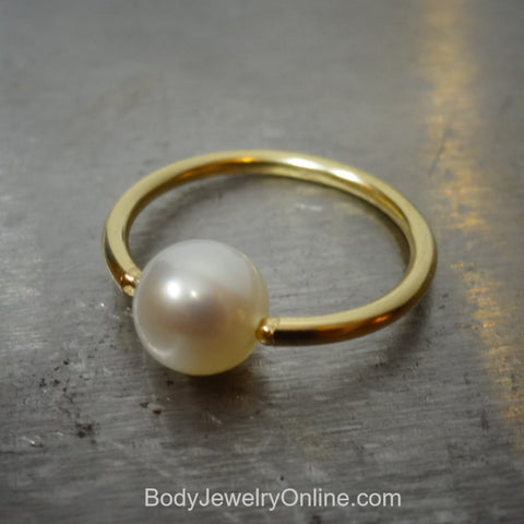 6mm White Pearl Captive Bead Ring - 14 ga Hoop - 14k Gold (Y, W, or R), Sterling Silver, or Platinum