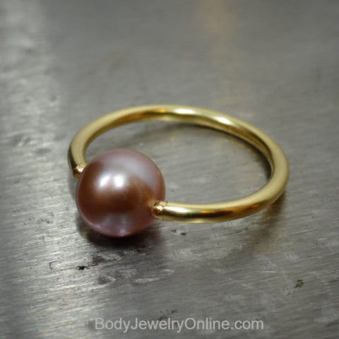 Lavender Pearl Captive Bead Ring 16 ga Hoop - 14k Gold (Y, W, or R), Sterling Silver, or Platinum