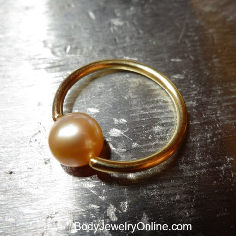 Peach Pearl Captive Bead Ring -14 ga Hoop - 14k Gold (Y, W, or R), Sterling Silver, or Platinum