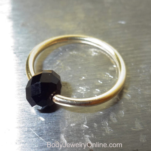 Captive Bead Ring made with BLACK Swarovski Crystal - 14 ga Hoop - 14k Gold (Y, W, or R), Sterling Silver, or Platinum