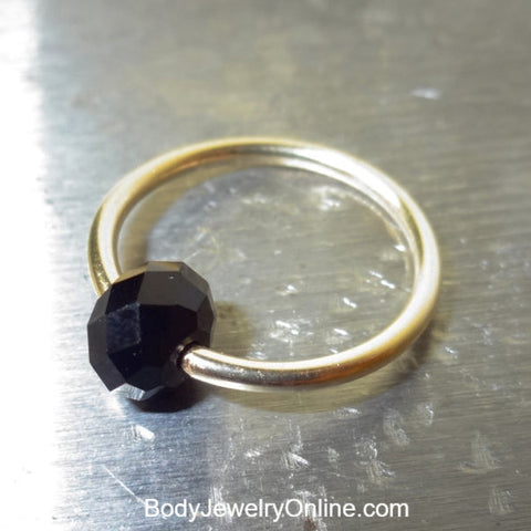 Captive Bead Ring made with BLACK Swarovski Crystal - 16 ga Hoop - 14k Gold (Y, W, or R), Sterling Silver, or Platinum