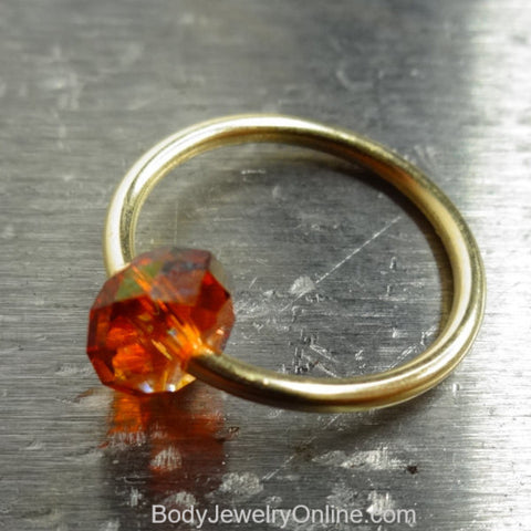 Captive Bead Ring made with AMBER Swarovski Crystal - 16 ga Hoop - 14k Gold (Y, W, or R), Sterling Silver, or Platinum