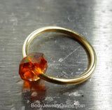 Captive Bead Ring made with AMBER Swarovski Crystal - 14 ga Hoop - 14k Gold (Y, W, or R), Sterling Silver, or Platinum