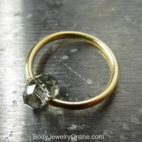Captive Bead Ring made with GRAY Swarovski Crystal - 14 ga Hoop - 14k Gold (Y, W, or R), Sterling Silver, or Platinum