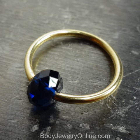 Captive Bead Ring made with NAVY BLUE Swarovski Crystal - 14 ga Hoop - 14k Gold (Y, W, or R), Sterling Silver, or Platinum