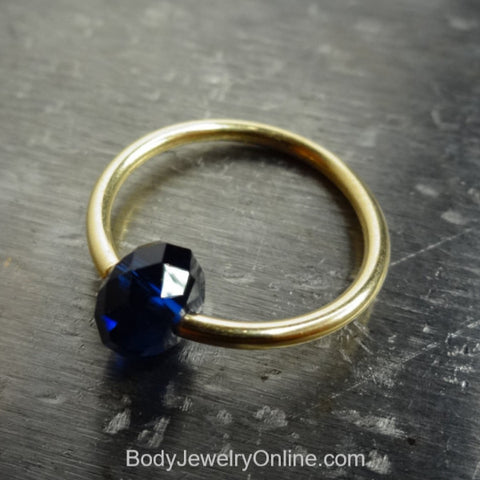 Captive Bead Ring made with NAVY BLUE Swarovski Crystal - 16 ga Hoop - 14k Gold (Y, W, or R), Sterling Silver, or Platinum