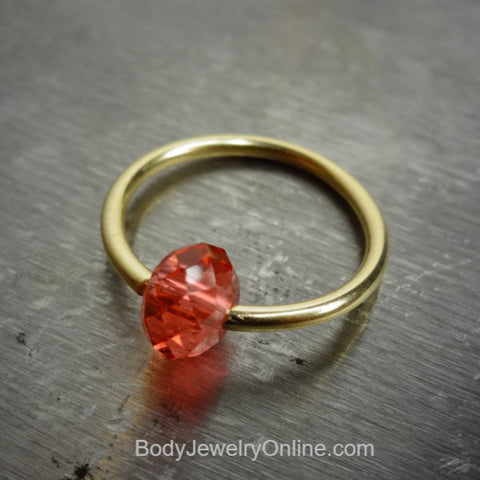 Captive Bead Ring made with PINK PEACH Swarovski Crystal - 16 ga Hoop - 14k Gold (Y, W, or R), Sterling Silver, or Platinumr