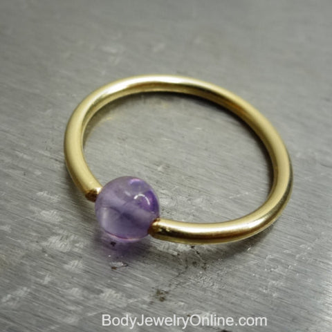 4mm Amethyst Captive Bead Ring - 14 ga Hoop - 14k Gold (Y, W, or R), Sterling Silver, or Platinum