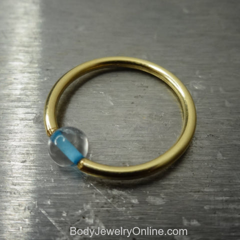 4mm Blue Topaz Captive Bead Ring - 16 ga Hoop - 14k Gold (Y, W, or R), Sterling Silver, or Platinum