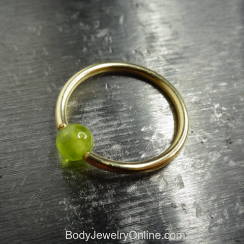 4mm Peridot Captive Bead Ring -16 ga Hoop - 14k Gold (Y, W, or R), Sterling Silver, or Platinum