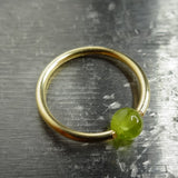 4mm Peridot Captive Bead Ring -14 ga Hoop - 14k Gold (Y, W, or R), Sterling Silver, or Platinum