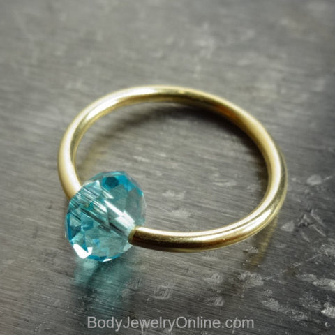 Captive Bead Ring made with BLUE TOPAZ Swarovski Crystal - 16 ga Hoop - 14k Gold (Y, W, or R), Sterling Silver, or Platinum