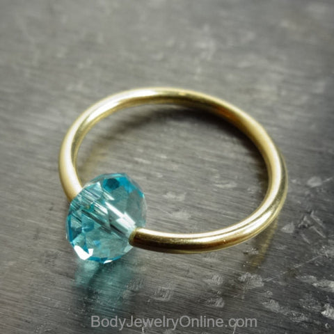 Captive Bead Ring made with BLUE TOPAZ Swarovski Crystal - 14 ga Hoop - 14k Gold (Y, W, or R), Sterling Silver, or Platinum