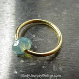 Captive Bead Ring made with OPAL BLUE Swarovski Crystal - 16 ga Hoop - 14k Gold (Y, W, or R), Sterling Silver, or Platinum