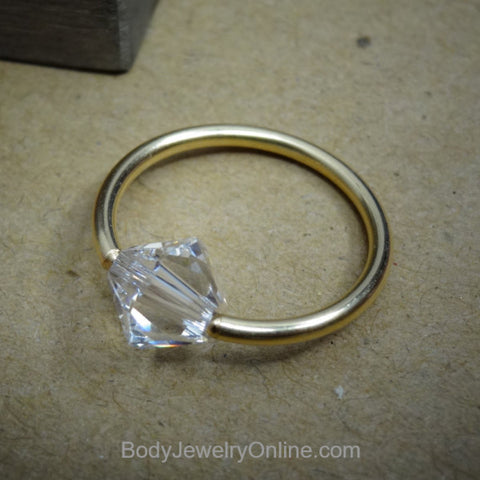 Captive Bead Ring made with 6mm CLEAR Swarovski Crystal - 16 ga Hoop - 14k Gold (Y, W, or R), Sterling Silver, or Platinum