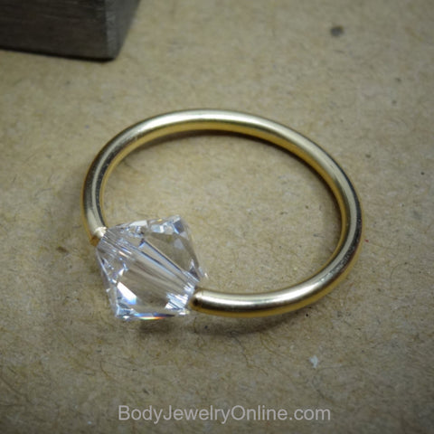 Captive Bead Ring made with 6mm CLEAR Swarovski Crystal - 14 ga Hoop - 14k Gold (Y, W, or R), Sterling Silver, or Platinum