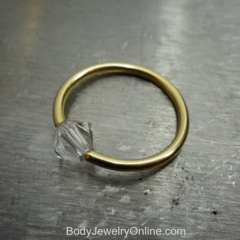Captive Bead Ring made with 5mm CLEAR Swarovski Crystal - 16 ga Hoop - 14k Gold (Y, W, or R), Sterling Silver, or Platinum