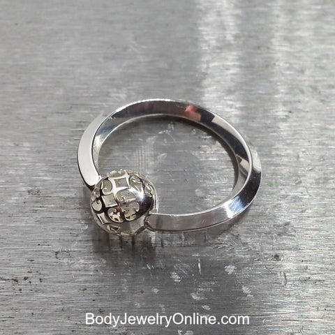 Scroll Cut-Out Captive Bead Ring - 14 ga Hoop - Sterling Silver