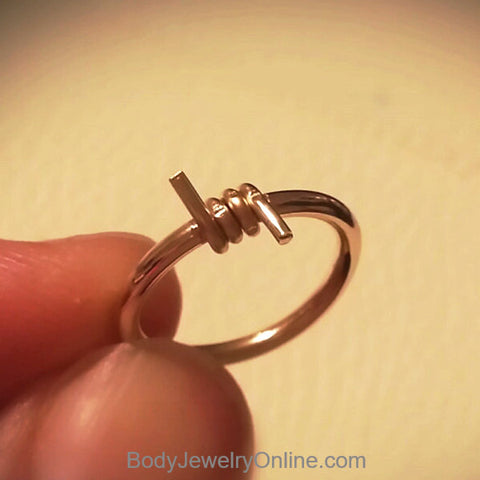 BARBED WIRE Captive Bead Ring - 14k Gold or Sterling Silver