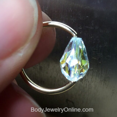 Captive Bead Ring made with AB Clear Swarovski Drop Crystal - 14 ga Hoop - 14k Gold (Y, W, or R), Sterling Silver, or Platinum
