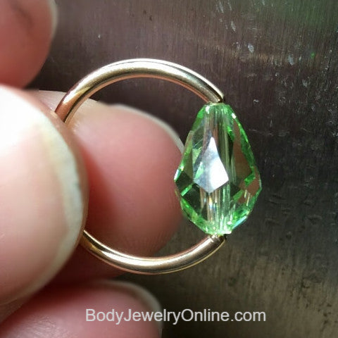 Captive Bead Ring made with Lt GREEN Swarovski Drop Crystal - 14 ga Hoop - 14k Gold (Y, W, or R), Sterling Silver, or Platinum