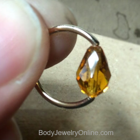 Captive Bead Ring made with ORANGE Swarovski Drop Crystal - 14 ga Hoop - 14k Gold (Y, W, or R), Sterling Silver, or Platinum