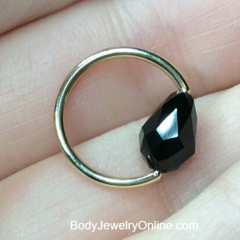 Captive Bead Ring made with BLACK Swarovski Drop Crystal - 14 ga Hoop - 14k Gold (Y, W, or R), Sterling Silver, or Platinum