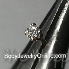 Nose Stud MOISSANITE Diamond 2mm -Post w/ 14k Solid Gold or Gold Filled, or Sterling Silver L-Post - Helix Tragus Lobe Lip Cartilage Sparkly