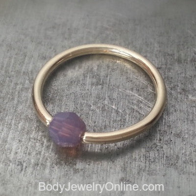 Captive Bead Ring made with 4mm LAVENDER OPAL Swarovski Crystal - 14 ga Hoop - 14k Gold (Y, W, or R), Sterling Silver, or Platinum