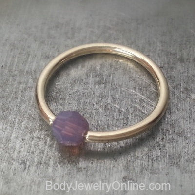 Captive Bead Ring made with 4mm LAVENDER OPAL Swarovski Crystal - 16 ga Hoop - 14k Gold (Y, W, or R), Sterling Silver, or Platinum