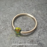 Captive Bead Ring w/ Swarovski Crystal 4mm Iridescent GRASS Fire AB - 14 ga Hoop - 14k Gold (Y, W, or R), Sterling Silver, or Platinum
