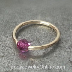 Captive Bead Ring made with Hot PURPLE AB 4mm Swarovski Crystal - 16 ga Hoop - 14k Gold (Y, W, or R), Sterling Silver, or Platinum