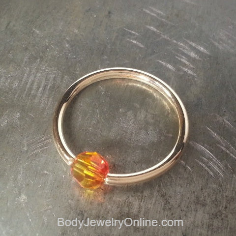 Captive Bead Ring w/ Swarovski Crystal 4mm OMBRE FIRE - 14 ga Hoop - 14k Gold (Y, W, or R), Sterling Silver, or Platinum