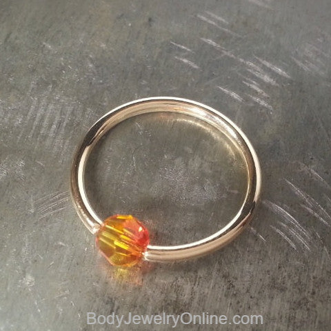 Captive Bead Ring w/ Swarovski OMBRE FIRE Crystal 4mm - 16 ga Hoop - 14k Gold (Y, W, or R), Sterling Silver, or Platinum