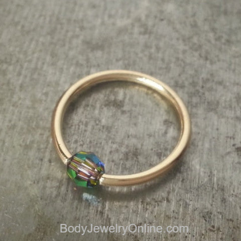 Captive Bead Ring w/ Swarovski Crystal 4mm IRIDESCNET COLORFUL - 14 ga Hoop - 14k Gold (Y, W, or R), Sterling Silver, or Platinum