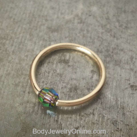 Captive Bead Ring w/ Swarovski Crystal 4mm IRIDESCNET COLORFUL - 16 ga Hoop - 14k Gold (Y, W, or R), Sterling Silver, or Platinum