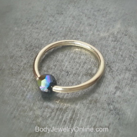 Captive Bead Ring w/ Swarovski Crystal 4mm IRIDESCENT Black COLORFUL - 16 ga Hoop - 14k Gold (Y, W, or R), Sterling Silver, or Platinum