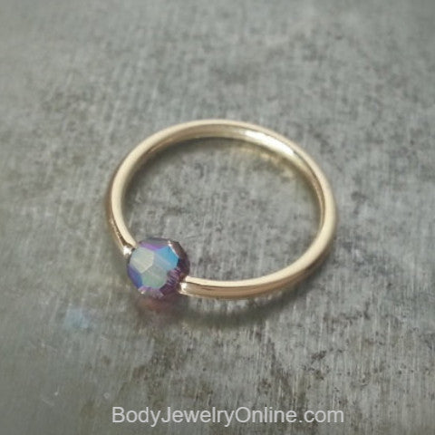 Captive Bead Ring w/ Swarovski Crystal 4mm IRIDESCENT Purple LAVENDER - 16 ga Hoop - 14k Gold (Y, W, or R), Sterling Silver, or Platinum