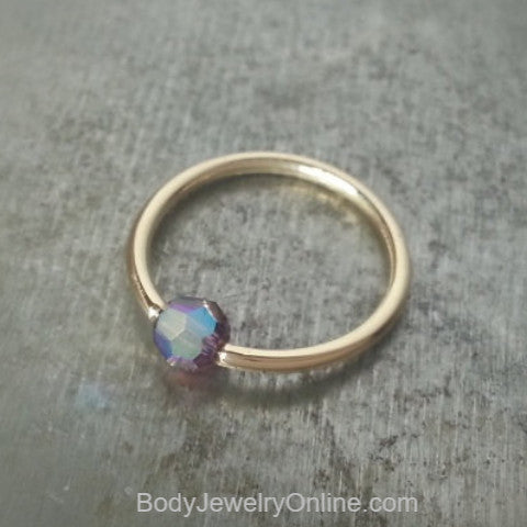 Captive Bead Ring w/ Swarovski Crystal 4mm IRIDESCENT Purple LAVENDER - 14 ga Hoop - 14k Gold (Y, W, or R), Sterling Silver, or Platinum