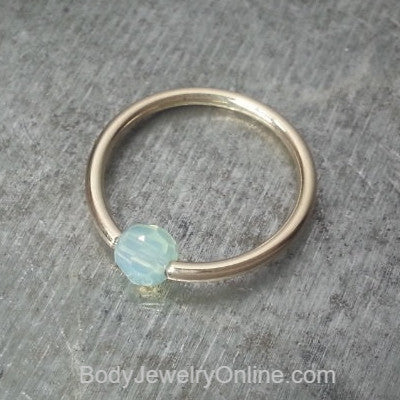 Captive Bead Ring made with 4mm Sky BLUE OPAL Swarovski Crystal - 14 ga Hoop - 14k Gold (Y, W, or R), Sterling Silver, or Platinum