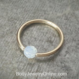 Captive Bead Ring made with 4mm WHITE OPAL Swarovski Crystal - 14 ga Hoop - 14k Gold (Y, W, or R), Sterling Silver, or Platinum