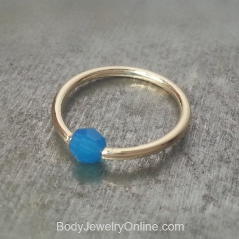Captive Bead Ring w/ Swarovski Crystal 4mm Ocean BLUE OPAL - 16 ga Hoop - 14k Gold (Y, W, or R), Sterling Silver, or Platinum