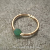 Captive Bead Ring w/ Swarovski Crystal 4mm Emerald GREEN OPAL - 14 ga Hoop - 14k Gold (Y, W, or R), Sterling Silver, or Platinum
