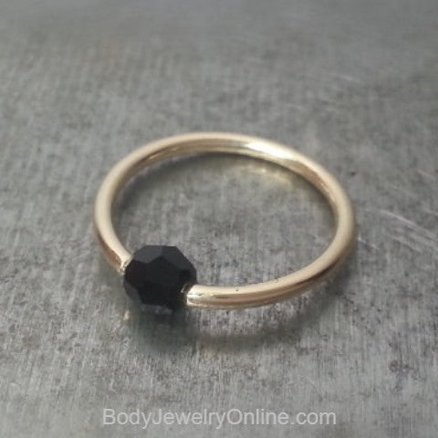 Captive Bead Ring w/ Swarovski Crystal 4mm BLACK MIDNIGHT - 14 ga Hoop - 14k Gold (Y, W, or R), Sterling Silver, or Platinum