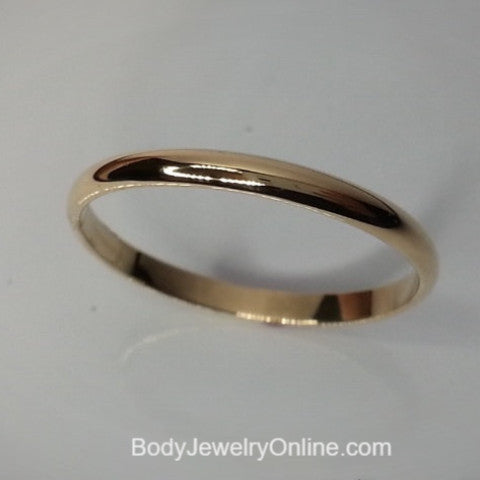 Shiny 14k SOLID Yellow Gold Ring 2mm Plain Band