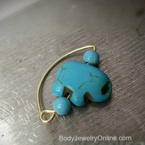 Navel Belly Ring Hoop - Turquoise Stone ELEPHANT - Solid / Fill 14k Yellow, Pink, White Gold, Sterling Silver