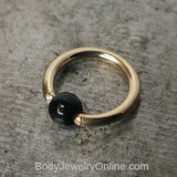 4mm Obsidian Captive Bead Ring - 16 ga Hoop - 14k Gold (Y, W, or R), Sterling Silver, or Platinum
