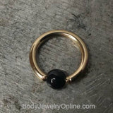 4mm Obsidian Captive Bead Ring - 14 ga Hoop - 14k Gold (Y, W, or R), Sterling Silver, or Platinum